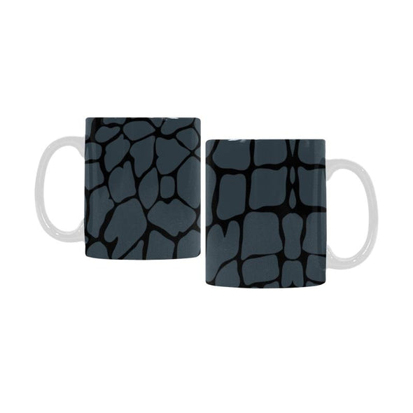 Ceramic Coffee Mugs (Pair) - Custom Giraffe Pattern - Charcoal - Housewares giraffes housewares