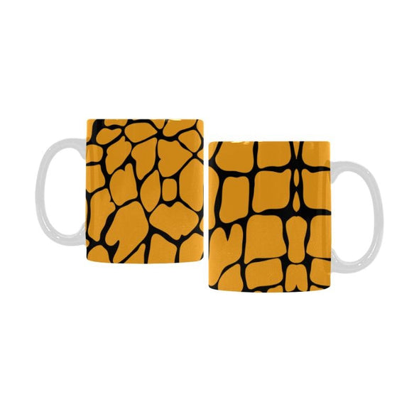 Ceramic Coffee Mugs (Pair) - Custom Giraffe Pattern - Orange - Housewares giraffes housewares