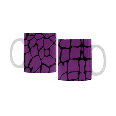 Ceramic Coffee Mugs (Pair) - Custom Giraffe Pattern - Purple - Housewares giraffes housewares