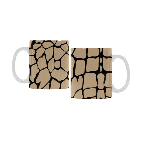 Ceramic Coffee Mugs (Pair) - Custom Giraffe Pattern - Tan - Housewares giraffes housewares