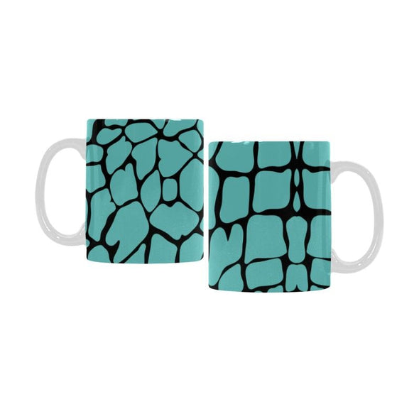 Ceramic Coffee Mugs (Pair) - Custom Giraffe Pattern - Turquoise - Housewares giraffes housewares
