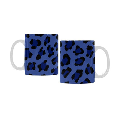 Ceramic Coffee Mugs (Pair) - Custom Leopard Pattern - Blue - Housewares big cats housewares leopards