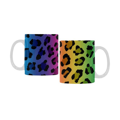 Ceramic Coffee Mugs (Pair) - Custom Leopard Pattern - Rainbow 2 - Housewares big cats housewares leopards