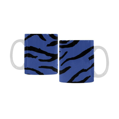 Ceramic Coffee Mugs (Pair) - Custom Tiger Pattern - Blue - Housewares big cats housewares tigers
