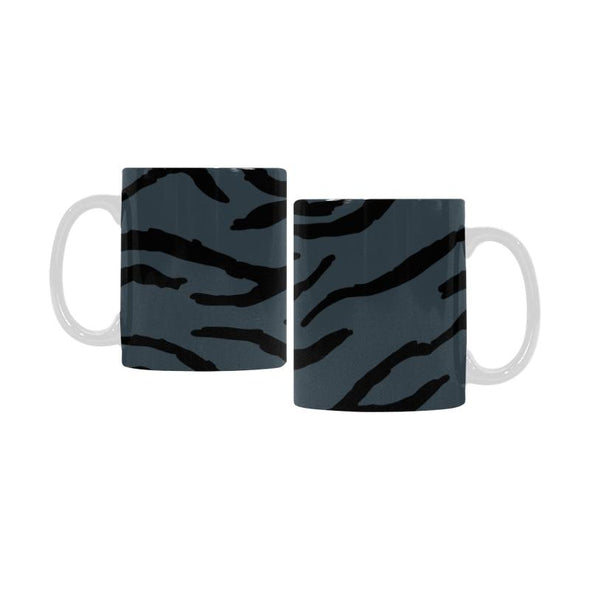 Ceramic Coffee Mugs (Pair) - Custom Tiger Pattern - Charcoal - Housewares big cats housewares tigers
