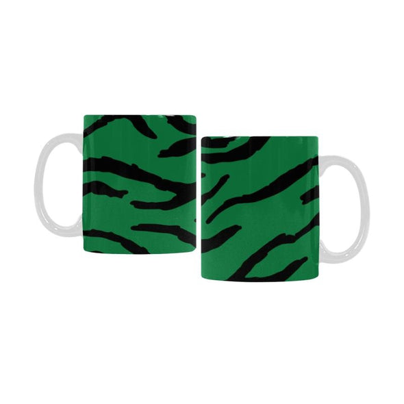 Ceramic Coffee Mugs (Pair) - Custom Tiger Pattern - Green - Housewares big cats housewares tigers