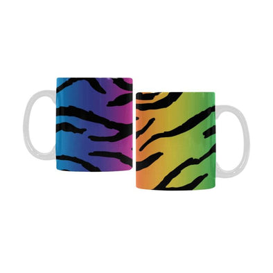 Ceramic Coffee Mugs (Pair) - Custom Tiger Pattern - Rainbow 2 - Housewares big cats housewares tigers