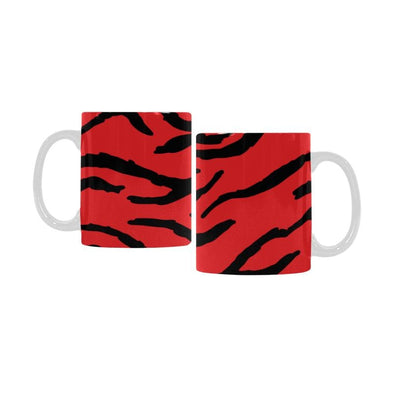 Ceramic Coffee Mugs (Pair) - Custom Tiger Pattern - Red - Housewares big cats housewares tigers