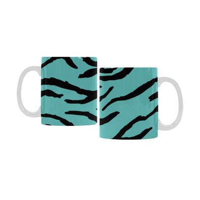 Ceramic Coffee Mugs (Pair) - Custom Tiger Pattern - Turquoise - Housewares big cats housewares tigers