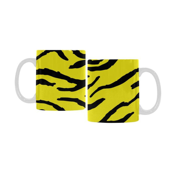 Ceramic Coffee Mugs (Pair) - Custom Tiger Pattern - Yellow - Housewares big cats housewares tigers