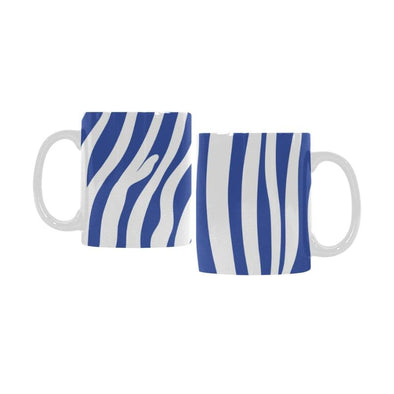 Ceramic Coffee Mugs (Pair) - Custom Zebra Pattern - Blue - Housewares housewares zebras