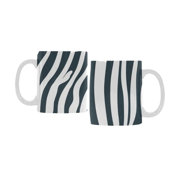 Ceramic Coffee Mugs (Pair) - Custom Zebra Pattern - Charcoal - Housewares housewares zebras