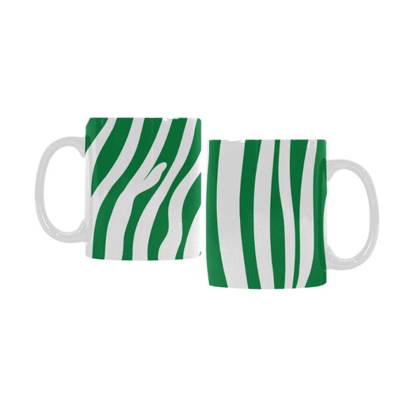 Ceramic Coffee Mugs (Pair) - Custom Zebra Pattern - Green - Housewares housewares zebras