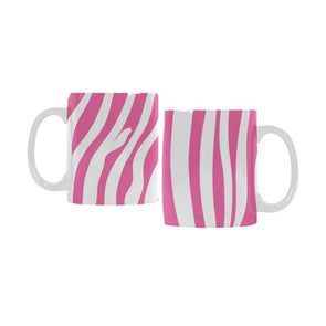Ceramic Coffee Mugs (Pair) - Custom Zebra Pattern - Hot Pink - Housewares housewares zebras