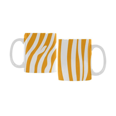 Ceramic Coffee Mugs (Pair) - Custom Zebra Pattern - Orange - Housewares housewares zebras