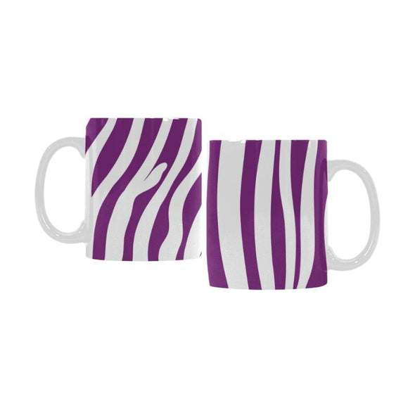 Ceramic Coffee Mugs (Pair) - Custom Zebra Pattern - Purple - Housewares housewares zebras