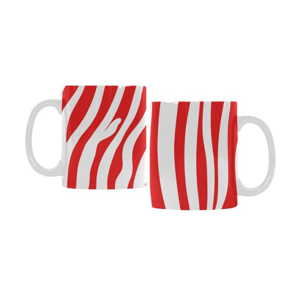 Ceramic Coffee Mugs (Pair) - Custom Zebra Pattern - Red - Housewares housewares zebras