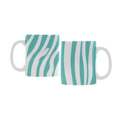 Ceramic Coffee Mugs (Pair) - Custom Zebra Pattern - Turquoise - Housewares housewares zebras