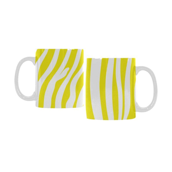 Ceramic Coffee Mugs (Pair) - Custom Zebra Pattern - Yellow - Housewares housewares zebras