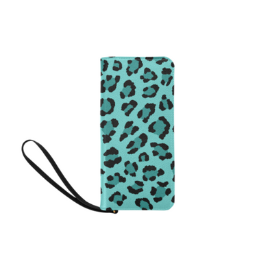 Clutch Purse - Custom Leopard Pattern - 2 - Turquoise Leopard - Accessories big cats leopards purses