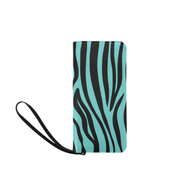 Clutch Purse - Custom Zebra Pattern - Turquoise Zebra - Accessories purses zebras