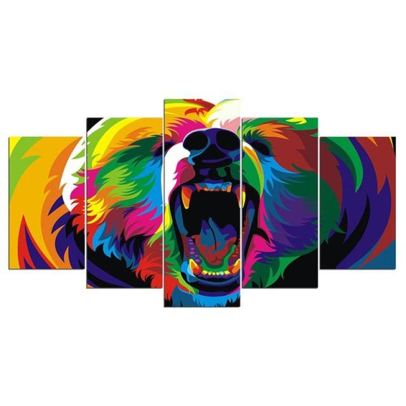Colorful Animal - Lion Elephant Giraffe Eagle Bear - Canvas Wall Art - 2pcs x 8x14in 2pcs x 8x18in 1pc x 8x22in / Bear - Wall Art big cats