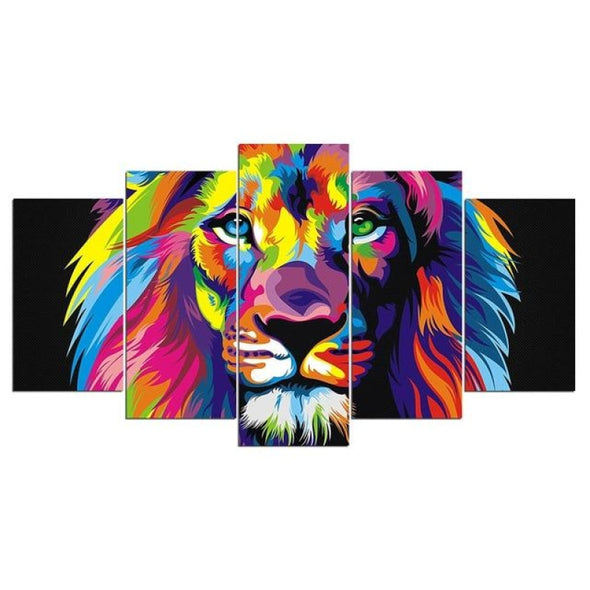 Colorful Animal - Lion Elephant Giraffe Eagle Bear - Canvas Wall Art - 2pcs x 8x14in 2pcs x 8x18in 1pc x 8x22in / Lion - Wall Art big cats
