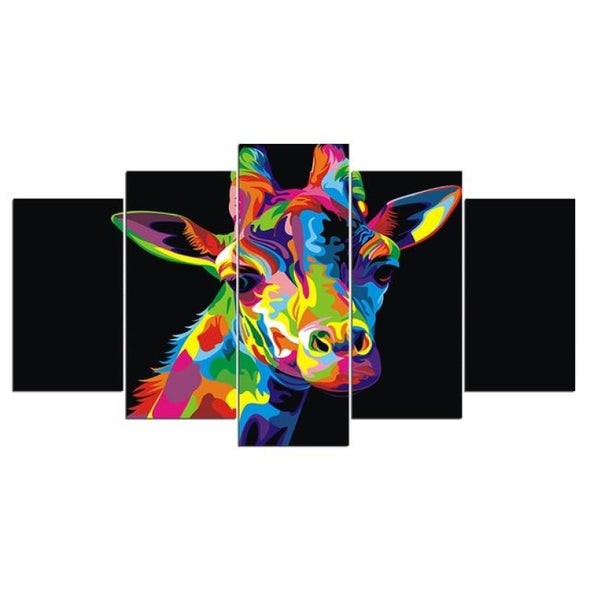 Colorful Animal - Lion Elephant Giraffe Eagle Bear - Canvas Wall Art - 2pcs x 8x14in 2pcs x 8x18in 1pc x 8x22in / Giraffe - Wall Art big