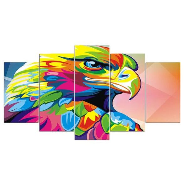 Colorful Animal - Lion Elephant Giraffe Eagle Bear - Canvas Wall Art - 2pcs x 8x14in 2pcs x 8x18in 1pc x 8x22in / Eagle - Wall Art big cats