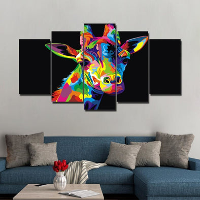 Colorful Animal - Lion Elephant Giraffe Eagle Bear - Canvas Wall Art - Wall Art big cats canvas prints elephants giraffes tigers