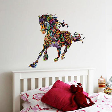 Colorful Flower Pattern Horse Running Wall Sticker - Wall Art horses wall stickers