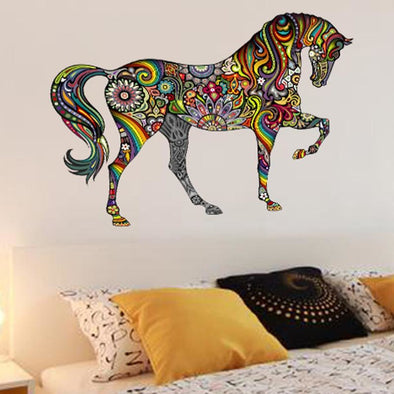 Colorful Flower Pattern Horse Wall Sticker - Small - Wall Art Horses Wall Stickers