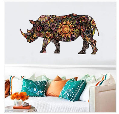 Colorful Flower Pattern Rhino Wall Sticker - Wall Art rhinos wall stickers