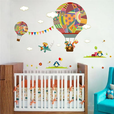 Colorful Hot Air Balloon & Animals Wall Sticker - Wall Art Giraffes Wall Stickers