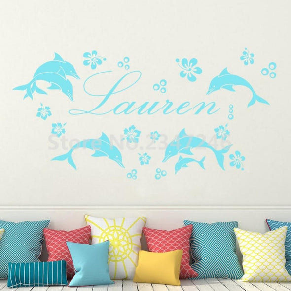 Customized Name Dolphins & Flowers Wall Sticker - Wall Art dolphins wall stickers