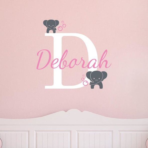 Customized Name Elephants Wall Sticker - Wall Art Elephants Wall Stickers