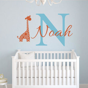 Customized Name Giraffe Wall Sticker - Wall Art giraffes wall stickers