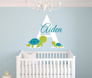 Customized Name Turtles Wall Sticker - Wall Art elephants turtles wall stickers
