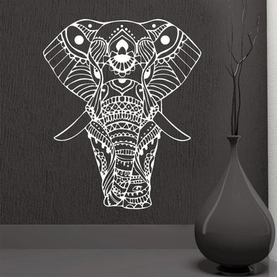 Decorated Indian Elephant Wall Sticker - Wall Art Elephants Indian Wall Stickers Yoga Gear