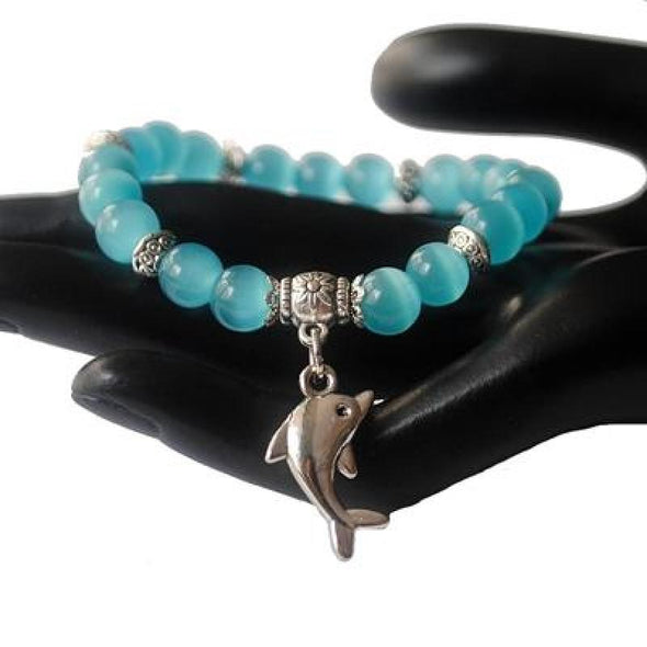 Dolphin Charm & Cat Eye Bead Bracelet - 5 Colors - aqua blue - Jewelry dolphins opal
