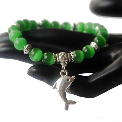 Dolphin Charm & Cat Eye Bead Bracelet - 5 Colors - green - Jewelry dolphins opal
