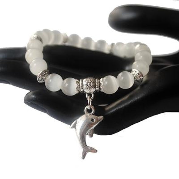 Dolphin Charm & Cat Eye Bead Bracelet - 5 Colors - white - Jewelry dolphins opal