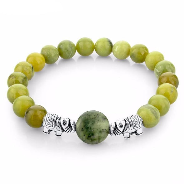 Elephant Bead Bracelet - Natural Green Stone - Jewelry bohemian bracelets elephants yoga gear