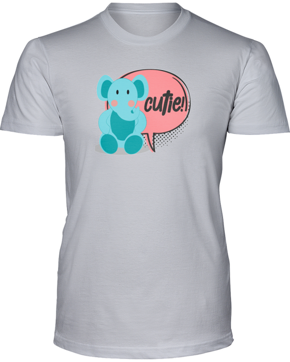 Elephant Cutie T-Shirt - Design 2 - Athletic Heather / S - Clothing elephants womens t-shirts