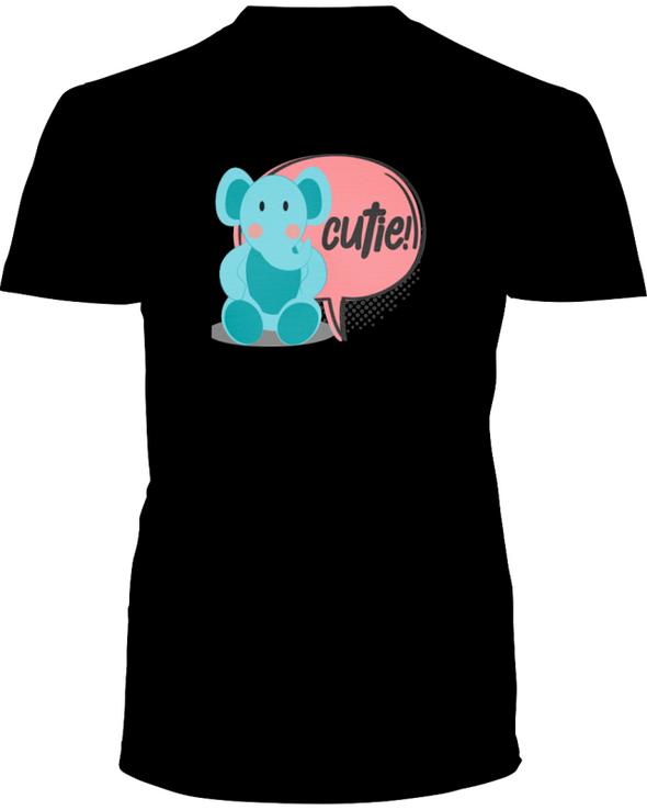 Elephant Cutie T-Shirt - Design 2 - Black / S - Clothing elephants womens t-shirts