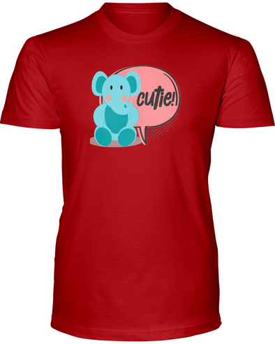 Elephant Cutie T-Shirt - Design 2 - Red / S - Clothing elephants womens t-shirts