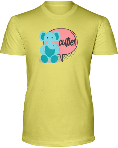 Elephant Cutie T-Shirt - Design 2 - Yellow / S - Clothing elephants womens t-shirts