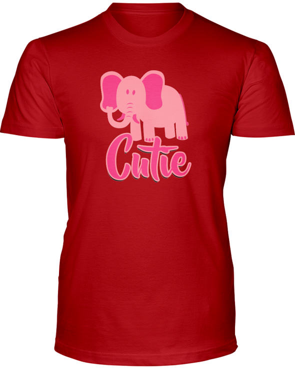 Elephant Cutie T-Shirt - Design 3 - Red / S - Clothing elephants womens t-shirts