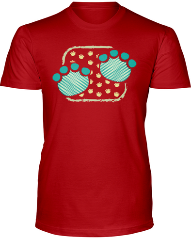 Elephant Footprints T-Shirt - Design 1 - Red / S - Clothing elephants womens t-shirts