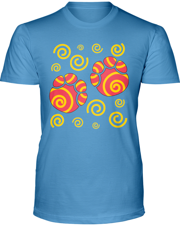 Elephant Footprints T-Shirt - Design 2 - Ocean Blue / S - Clothing elephants womens t-shirts
